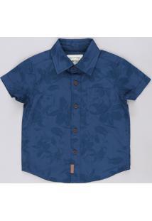 Camisa Infantil Estampada De Folhagens Com Bolso Manga Curta Azul Escuro