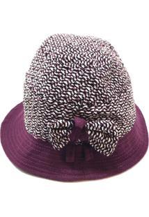 Chapéu Em Lã Batida Vinho Com Mescla