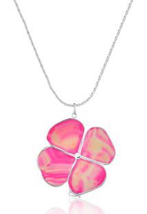 Colar Le Diamond Trevo Pedra Natural Rosa