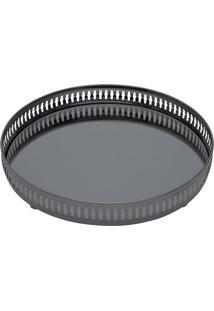Bandeja Com Espelho Gallery- Espelhada & Cinza Escuro