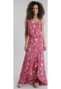 Vestido Longo Estampado Floral Rosa Escuro