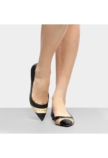 Sapatilha Couro Shoestock Cobra Ráfia Bico Fino Feminina - Feminino