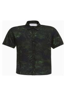 Camisa Mc Ck Estampa Folhagem - Preto