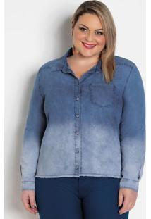 Camisa Jeans Clara Plus Size Efeito Tie Dye