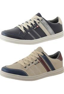 34477bd0d51 Kit Tênis Sapatenis Cr Shoes Leve E Baixo Lançamento Azul E Bege