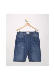 Bermuda Jeans Masculina Básica Slim Azul Médio