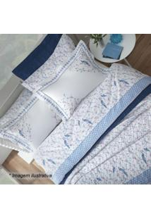 Jogo De Cama Hamani Casal- Branco & Azul- 4Pã§S- Sultan