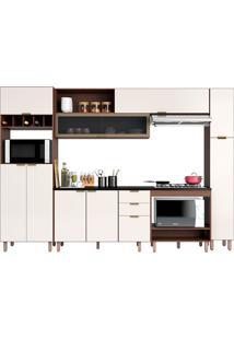 Cozinha Compacta 5 Peças C/ Forno Flair-Poliman - Nogueira / Of White