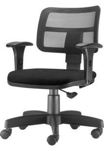 Cadeira Zip Tela Com Bracos Assento Crepe Preto Base Rodizio Metalico Preto - 54468 Sun House