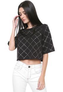 Camiseta Cropped My Favorite Thing(S) Renda Preta