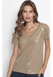 Camiseta Com Fios Metalizados- Dourada- Us2Us2