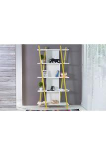 Estante Branca Pequena Para Quarto/Sala Design 5 Prateleiras E Nichos Moderna Mdf E Madeira Cor Amarela Sue Woodinn 90X38X180 Cm