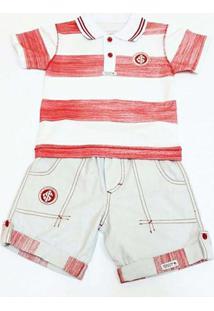 Conjunto Polo Shorts Meia Malha Oxford Menino Internacional Reve Dor - G - Masculino
