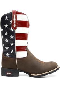 Bota Texana Bandeira Eua Bico Redondo 0903 - Masculino-Marrom Escuro+Branco