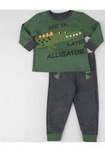 Pijama Infantil Jacaré Em Moletom Manga Longa Verde