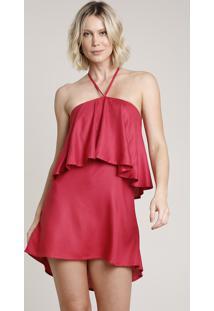 Vestido Feminino Curto Frente Única Com Babado Vinho