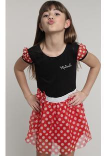 Vestido Infantil Carnaval Minnie Com Tule Estampado De Poá Manga Curta Preto