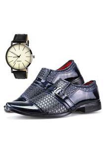 Sapato Social Dhl Calçados Neway Ws Shoes Azul + Relógio