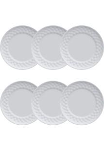 Conjunto Pratos Para Sobremesa 06 Peças Plissan - Germer - Branco