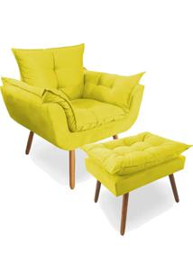 Combo Poltrona Decorativa Opala Deluxe Com Puff Suede Amarelo