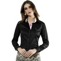Camisa Social Preta Feminina Principessa Carin d9ca45f667242