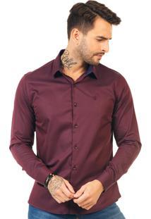Camisa Docthos Ml Cetim Bordô