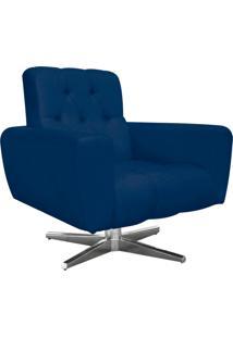 Poltrona Decorativa Pietra Suede Azul Marinho Com Base Estrela Giratória Em Aço Cromado - D'Rossi