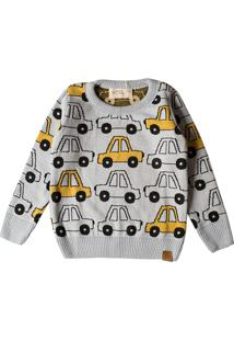 Casaco Suéter Infantil Mini Lord Tricô Yellow Car Azul