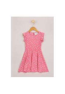 Vestido Infantil Estampado Floral Com Babados Manga Curta Rosa