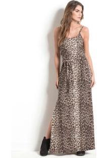 Vestido Longo Animal Print Quintess Com Fenda