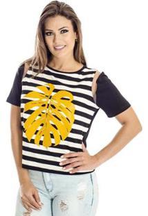 Camiseta Listrada Alphorria A.Cult - Feminino-Preto