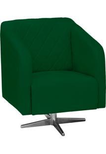 Poltrona Decorativa D'Rossi Silmara Suede Verde Com Base Giratória Em Aço Cromado