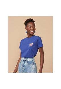Amaro Feminino T-Shirt Slim Smile Flowers, Azul Escuro