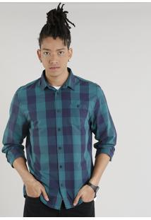 Camisa Masculina Xadrez Com Bolso Manga Longa Verde