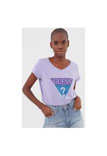 Camiseta Guess Logo Lilás