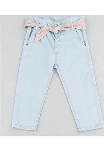 Calça Jeans Infantil Clochard Em Moletom Com Faixa Para Amarrar Azul Claro