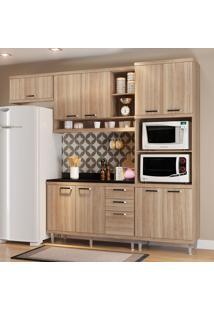 Cozinha Compacta Sicília Com Tampo 9 Portas Argila - Multimóveis