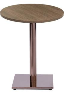 Mesa Colorado 60 Cm Tampo Redondo Imbuia Base Bronze - 37276 - Sun House