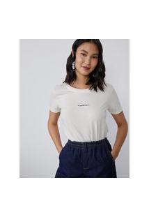 Amaro Feminino T-Shirt A Sorte Vem Gola Dupla, Off-White