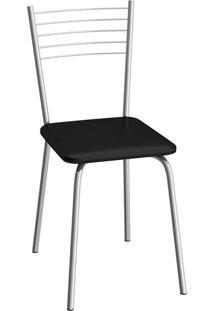 Cadeira De Cozinha Flex Cromada E Preta