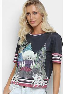 Camiseta Morena Rosa Índia Feminina - Feminino-Preto+Marrom