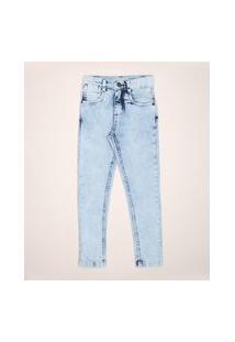 Calça Jeans Infantil Relaxed Marmorizada Com Tubarão Azul Claro