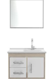 Gabinete Para Banheiro Com Espelheira 02 Gavetas Canopus Cerocha Acompanha Cuba E Espelheira Branco