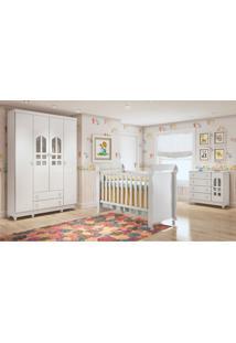 Dormitório Selena Guarda Roupa 4 Portas/Cômoda/Berço Mini Cama Mirelle Branco Carolina Baby