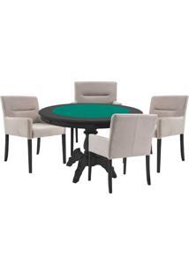 Mesa De Jogos Carteado Redonda Montreal Tampo Reversível Preto Com 4 Cadeiras Vicenza Nude - Gran Belo