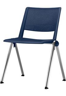 Cadeira Up Assento Azul Base Fixa Cromada - 54308 Sun House