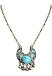 Colar Armazém Rr Bijoux Pedra Azul Turquesa