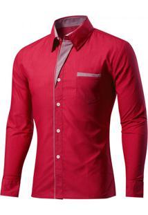 Camisa Masculina Slim Com Listras Manga Longa - Vermelho Escuro Pp