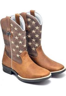 Bota Fakcini Texana Country Masculina - Masculino-Marrom