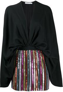 Amen Vestido Com Aplicação De Paetês - Preto